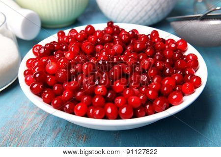 Cranberries in bowl on kitchen table close up