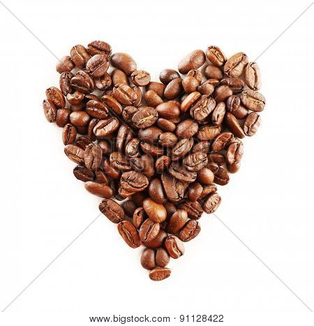 Coffee beans in shape of heart isolated on white