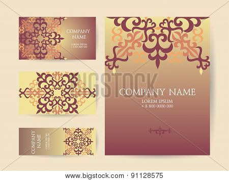 Set Of Business Cards, Invitations, And Cards Templates With Lace Ornaments. Vector Background. Kaza