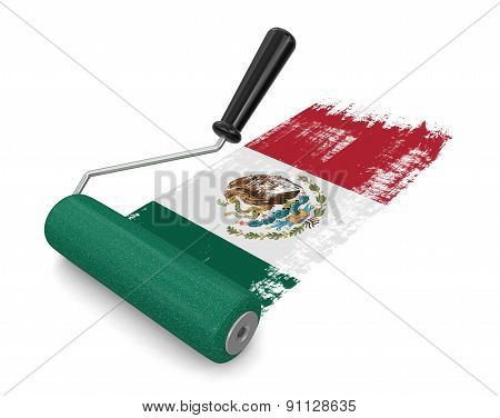 Paint roller with Mexican flag (clipping path included)