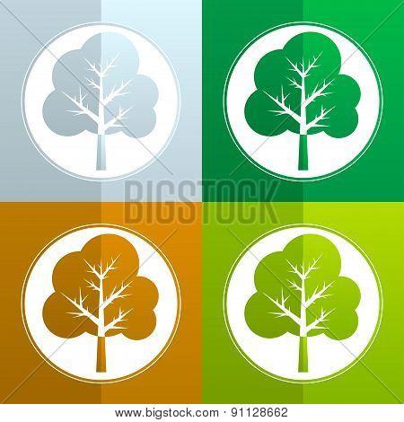 tree flat - vector icon set