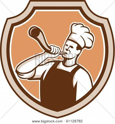 Chef Cook Blowing Bullhorn Shield Retro