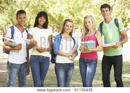 Group Of Teenage Students Standing In Park
