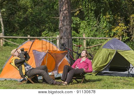 Senior Couple At Camping