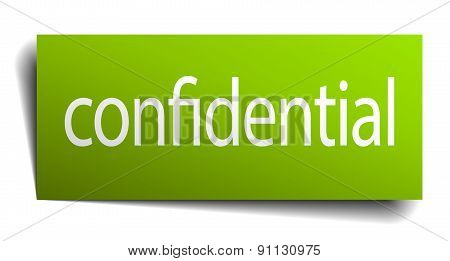 Confidential Green Paper Sign On White Background