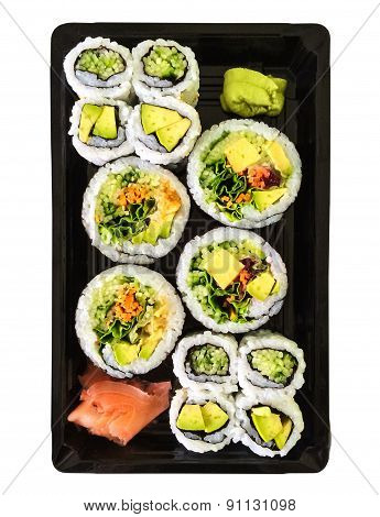 Box Of Vegetarian Sushi On White Background