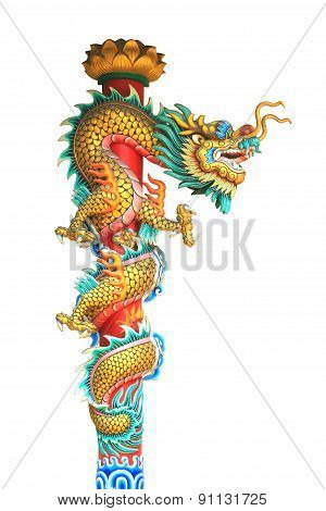 China Dragon Statue Around The Pole Isolated On White Background