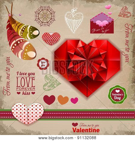 Valentine's Day Labels, Icons Elements Collection, Decoration