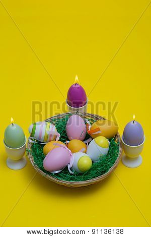 Easter Eggs With Beautiful Motive And Candle.