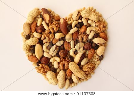 Assorted Nuts In The Form Of Hearts