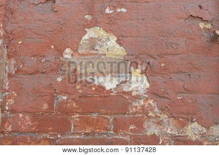 Peeling Paint On A Brick Wall