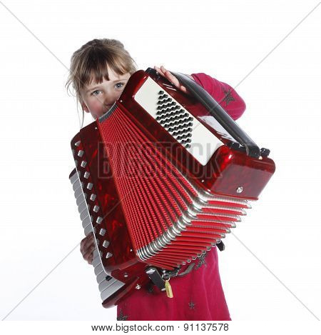 Very Young Girl With Accordion In Studio