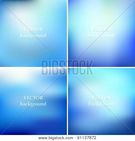 Set Of Abstract Colorful Blurred Aqua Water Vector Backgrounds