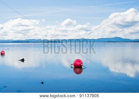 Red Buoy on a Clear Reflective Lake 2