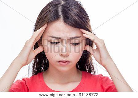 Asian Woman With Headache