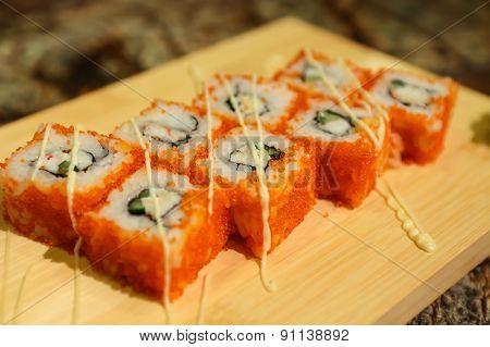 Delicious California maki sushi rolls