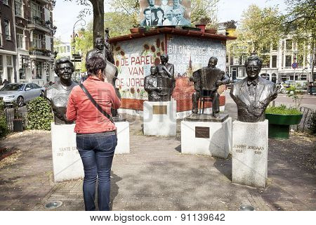 Statues In Bronze Of Famous Artists From The Jordaan In Amsterdam