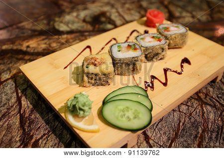 Delicious Magura grill maki sushi rolls