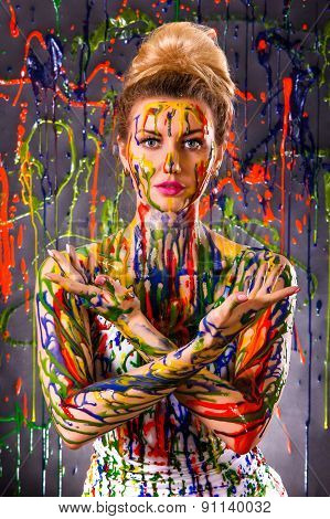 Beautiful Woman Covered With Multicolored Paints