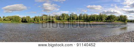 Panoramic River Landscape In The Polar Urals.
