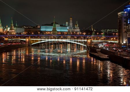 The Moscow Kremlin At Night.