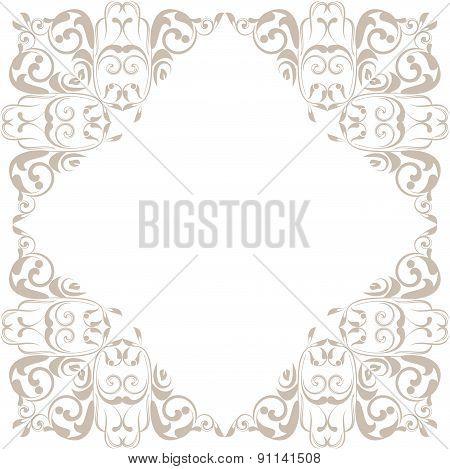 Ornamental Floral  Frame For Design In Vintage Stile.