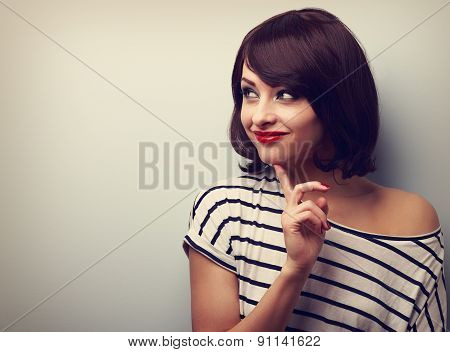 Happy Thinking Young Woman Looking On Empty Copy Space. Vintage Portrait