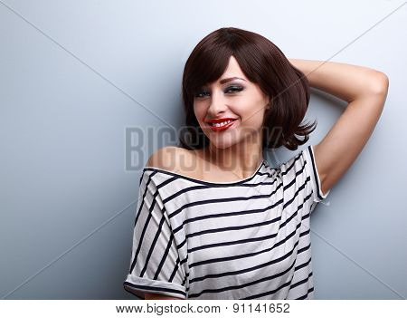 Smiling Happy Young Woman In Casual Dress Relaxing