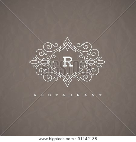 Monogram logo template with flourishes calligraphic elegant ornament elements. Identity design with letter for restaurant or cafe, shop, store, boutique, hotel, heraldic, fashion and etc.
