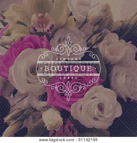 Boutique logo template with flourishes calligraphic elegant ornament frame on a flowers background - vector illustration
