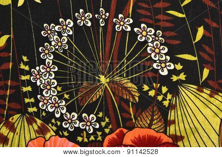 Floral Pattern On Fabric.