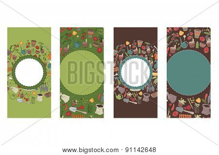 Vertical floral templates. Dark green and light color