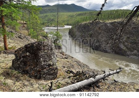 Canyon Of The Mountain River In Yakutia.