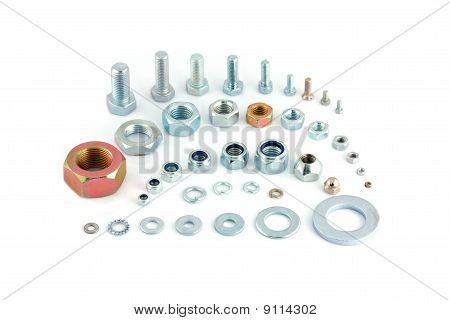 Varied Steel Bolts, Nuts And Washers Isolated
