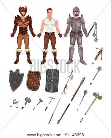 Medieval avatar with armors and weapons. Isolated objects, vector illustrator