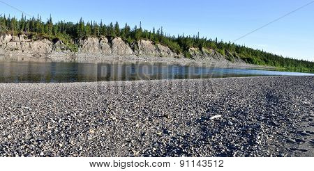 Panoramic Landscape Of  Wild River In The Urals.