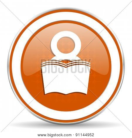 book orange icon reading room sign bookshop symbol