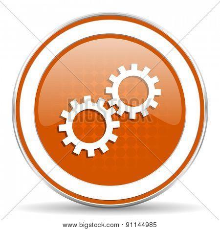 gears orange icon options sign