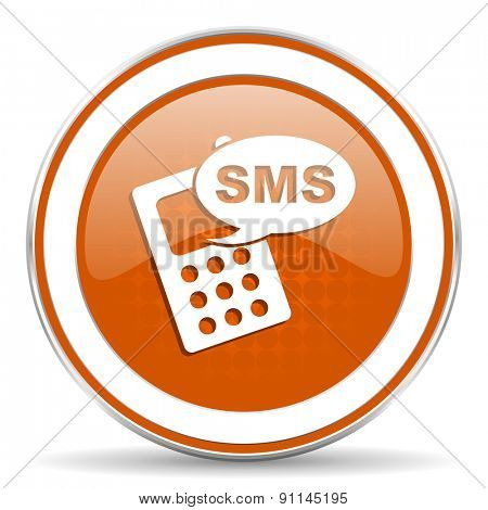 sms orange icon phone sign