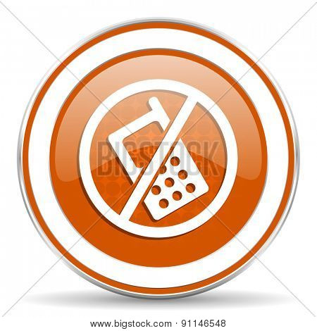 no phone orange icon no calls sign