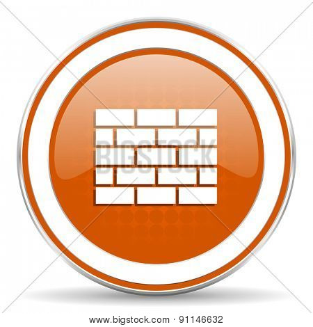firewall orange icon brick wall sign