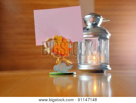 Burning Candle In Glass Decorative Candlestick On Wooden Desk, With Place For Your Text