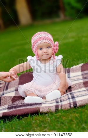 Beautiful 4 Month Old Baby Girl In Pink Flower Hat And Tutu