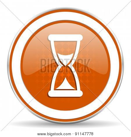 time orange icon hourglass sign