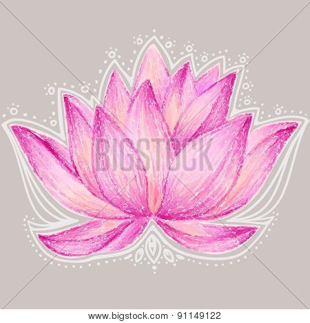 Beautiful lotus flower illustration. Lotus flower design card.