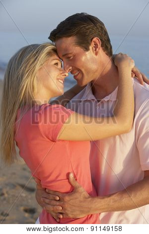 Romantic Young Couple Enjoying Beach Holiday