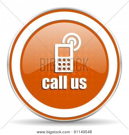 call us orange icon phone sign