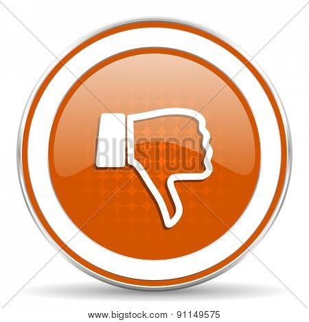 dislike orange icon thumb down sign
