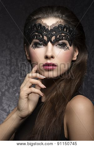 Brunette In Black Mask