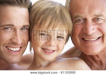 Portrait Of Three Generation Of Men From Family